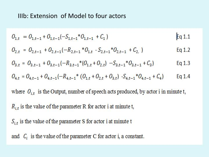 IIIb: Extension  of Model to four actors