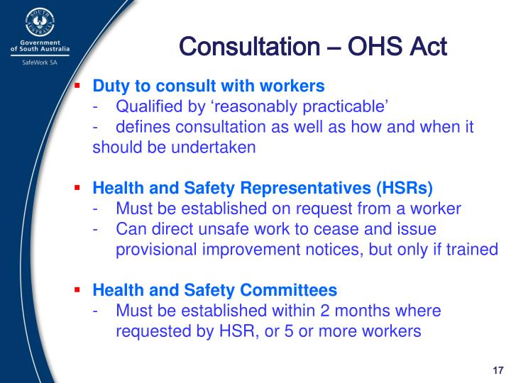 Consultation – OHS Act