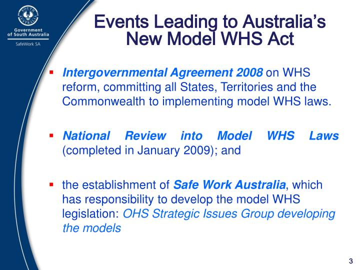 Events leading to australia s new model whs act