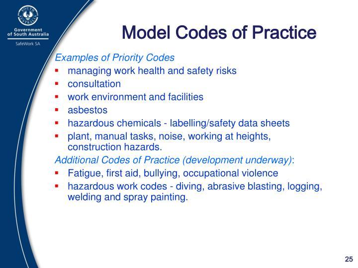 Model Codes of Practice