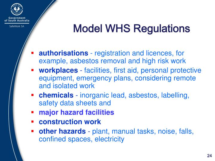 Model WHS Regulations