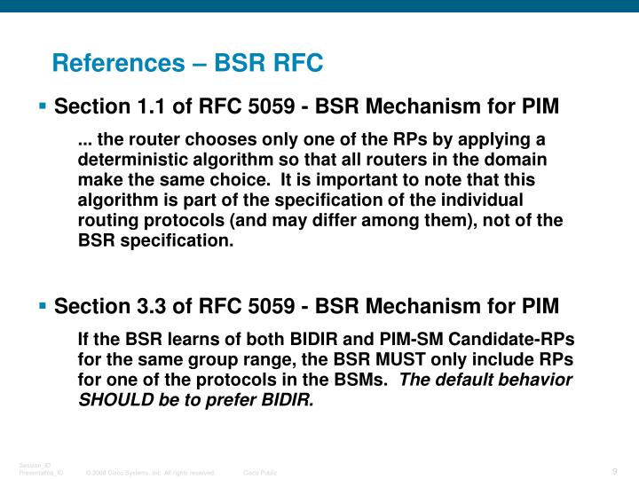 References – BSR RFC
