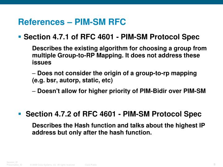 References – PIM-SM RFC