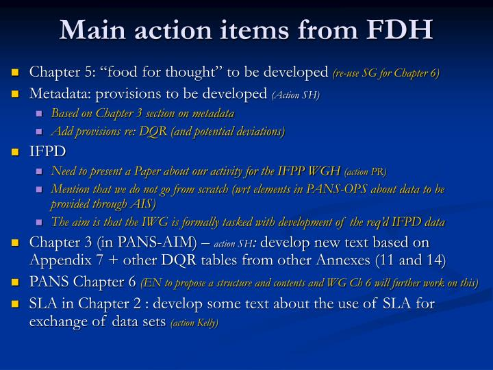 Main action items from FDH