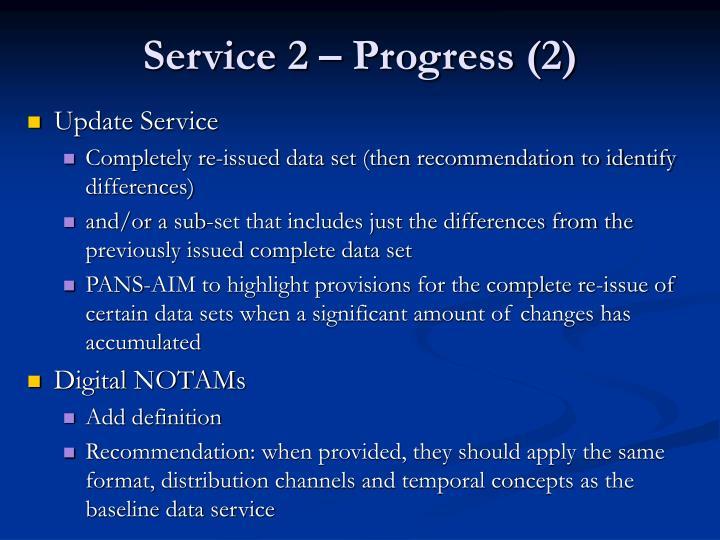 Service 2 – Progress (2)