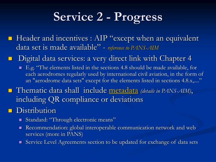 Service 2 - Progress