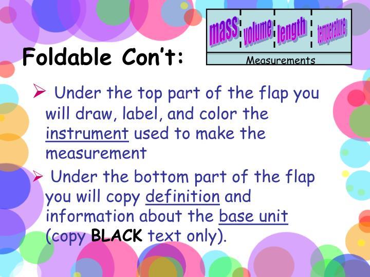 Foldable Con't: