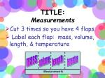 title measurements