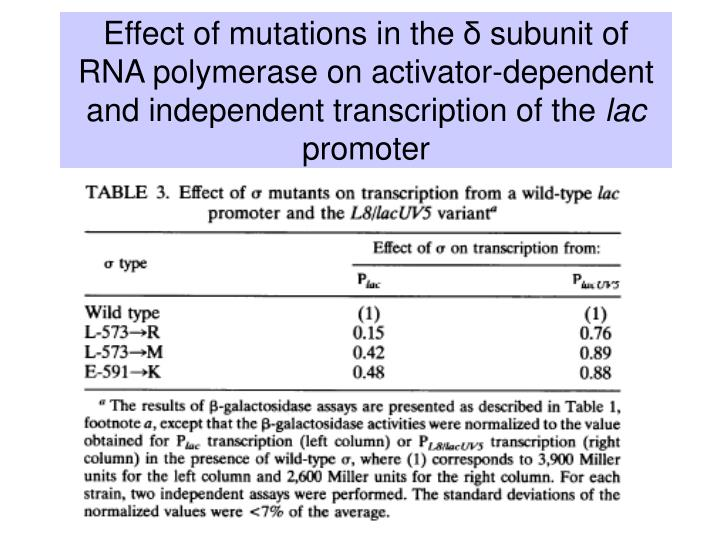 Effect of mutations in the