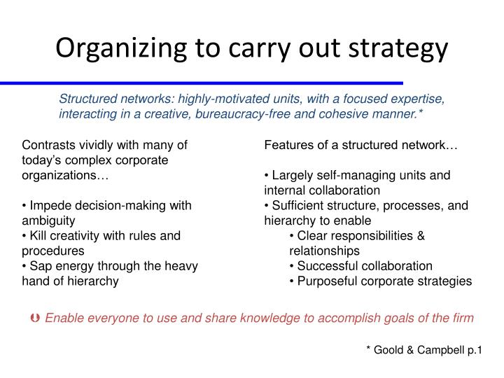 Organizing to carry out strategy