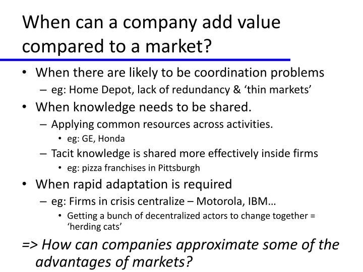 When can a company add value compared to a market?