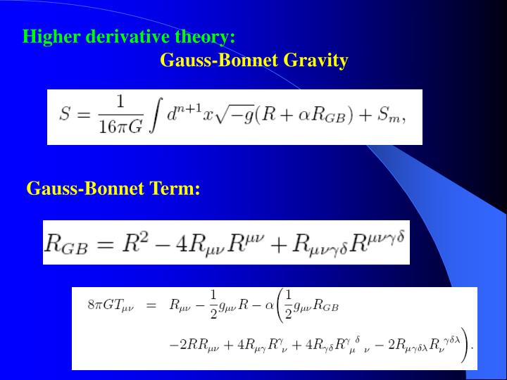 Higher derivative theory: