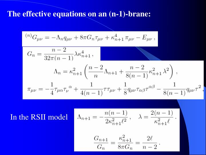 The effective equations on an (n-1)-brane: