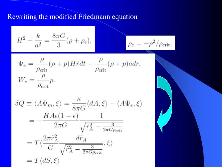 Rewriting the modified Friedmann equation