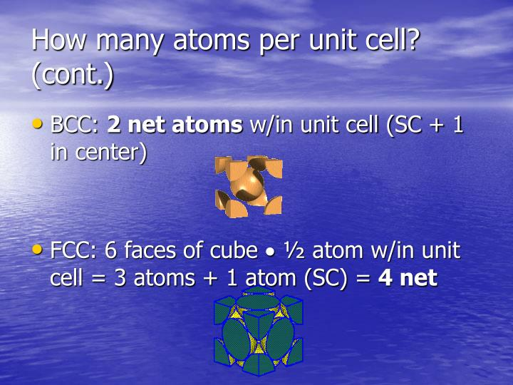 How many atoms per unit cell? (cont.)