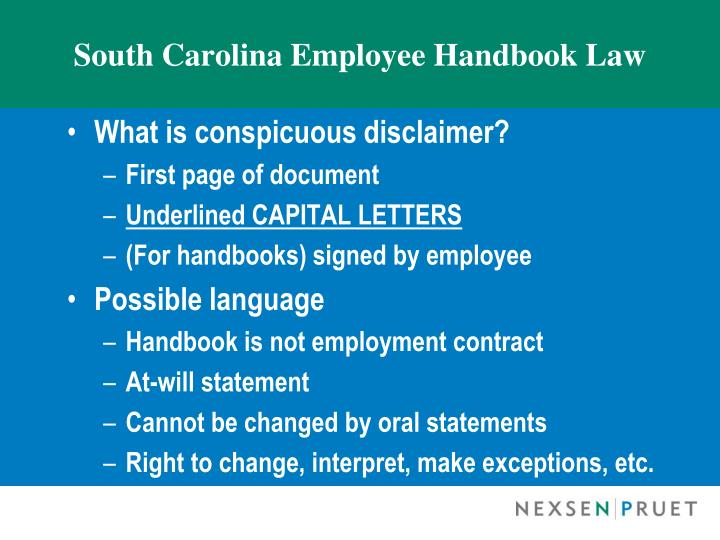 South Carolina Employee Handbook Law