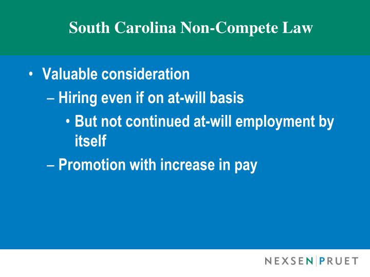 South Carolina Non-Compete Law