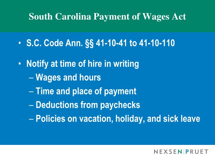 South Carolina Payment of Wages Act