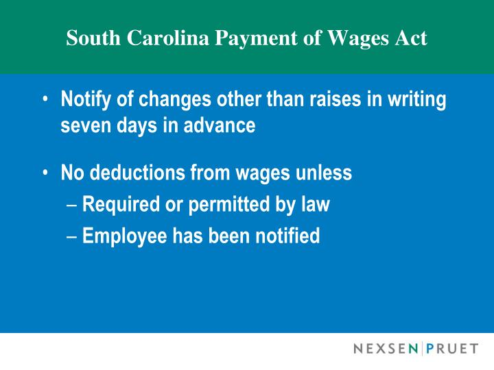 South carolina payment of wages act1