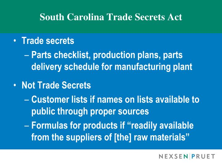 South Carolina Trade Secrets Act