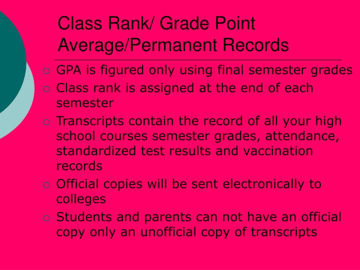 Class Rank/ Grade Point Average/Permanent Records