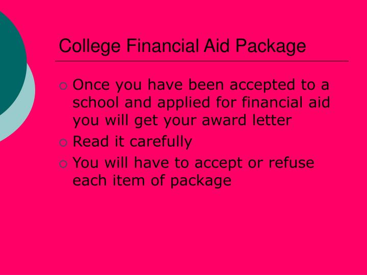 College Financial Aid Package