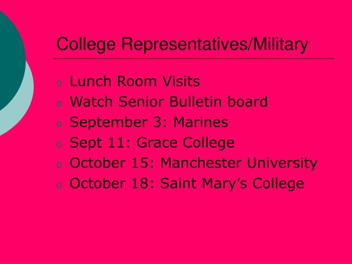 College Representatives/Military