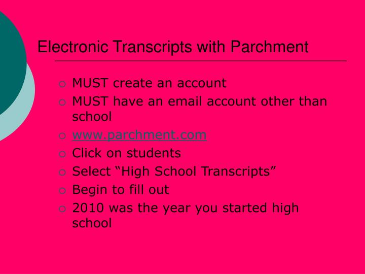 Electronic Transcripts with Parchment
