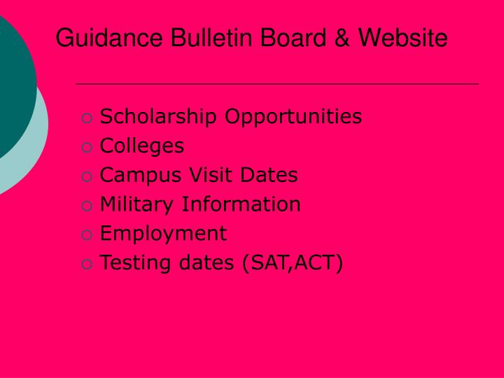 Guidance bulletin board website