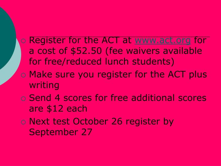 Register for the ACT at