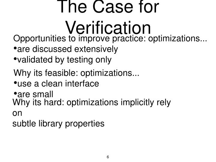 The Case for Verification
