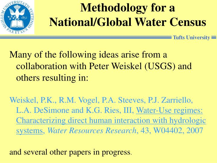 Methodology for a National/Global Water Census