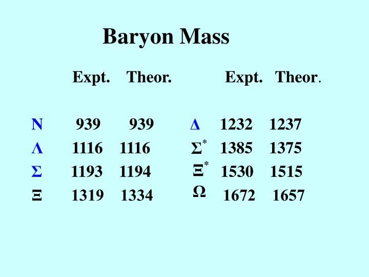 Baryon Mass