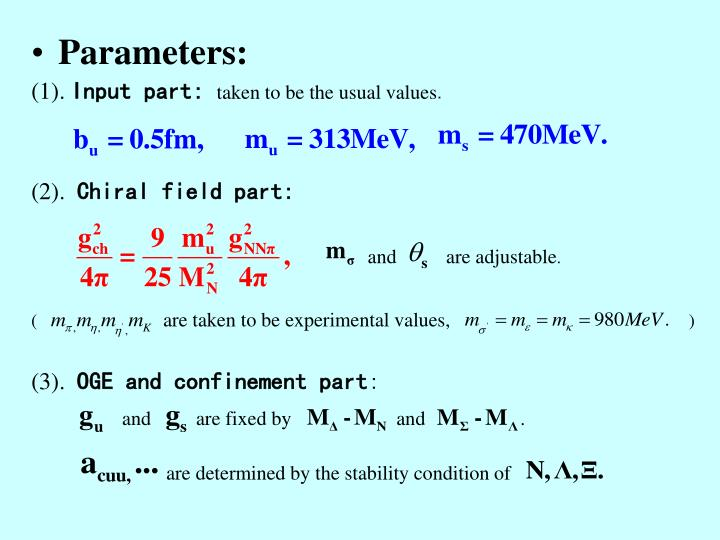 Parameters: