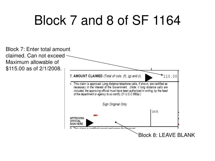 Block 7 and 8 of SF 1164