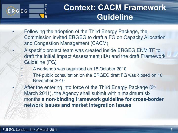 Context: CACM Framework Guideline
