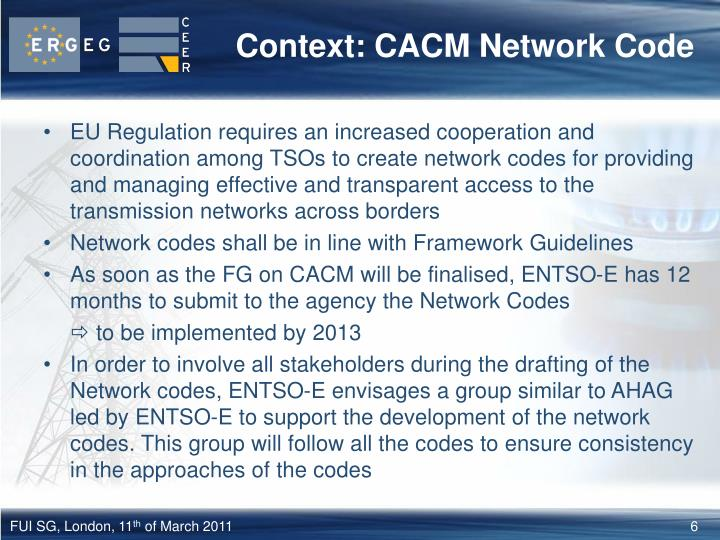 Context: CACM Network Code