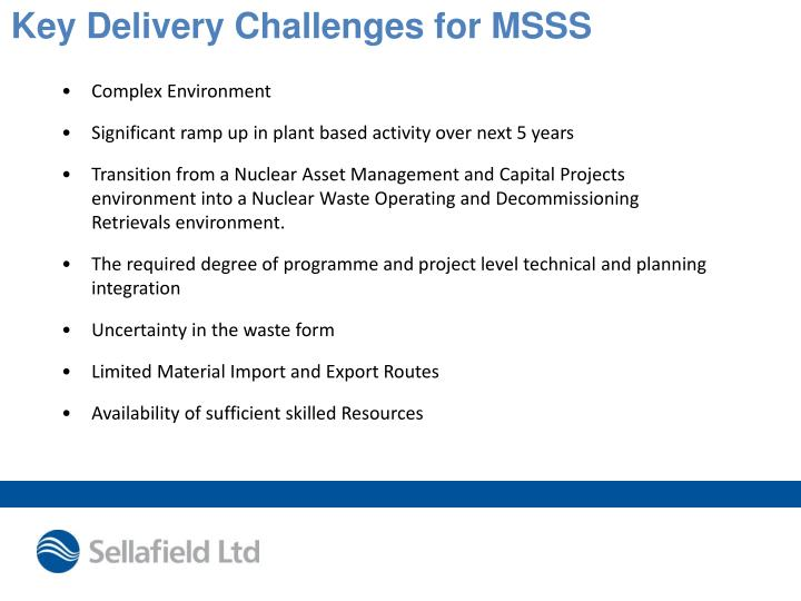 Key Delivery Challenges for MSSS