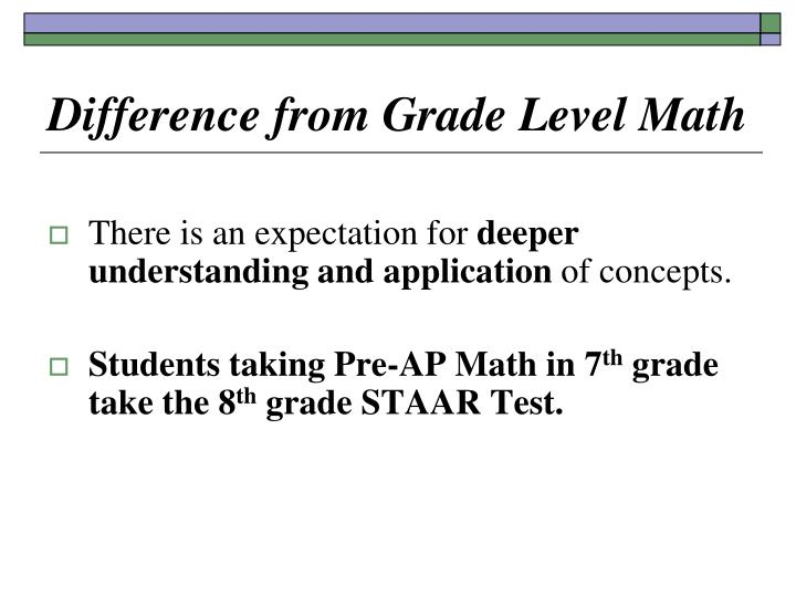 Difference from Grade Level Math