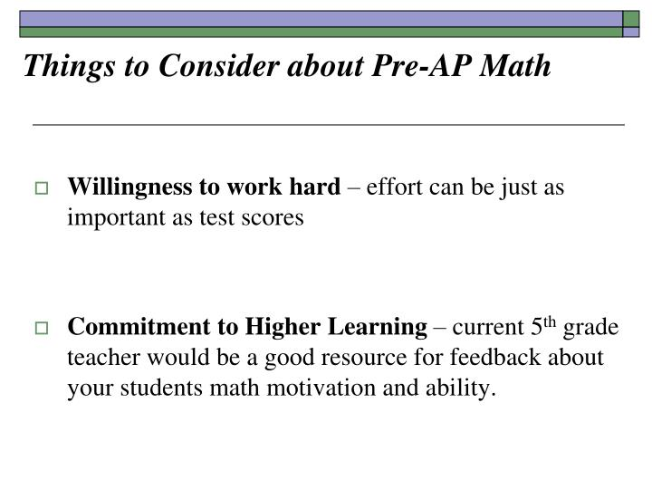 Things to Consider about Pre-AP Math