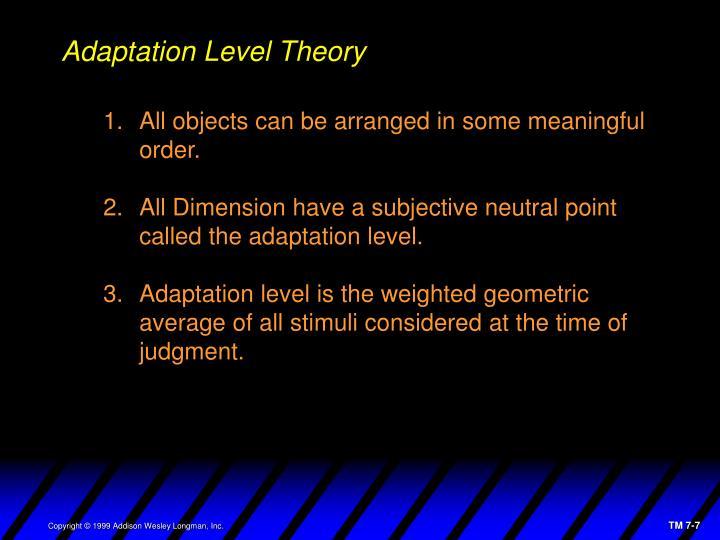 Adaptation Level Theory