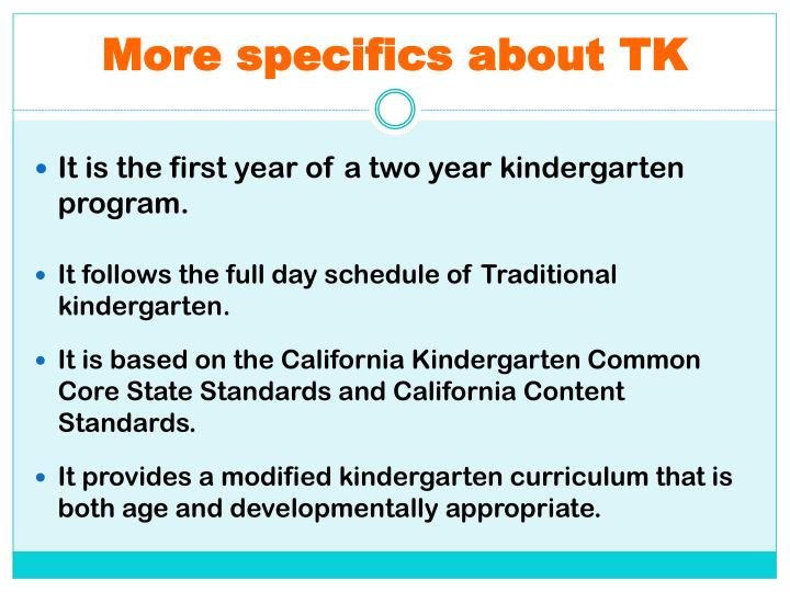 More specifics about TK
