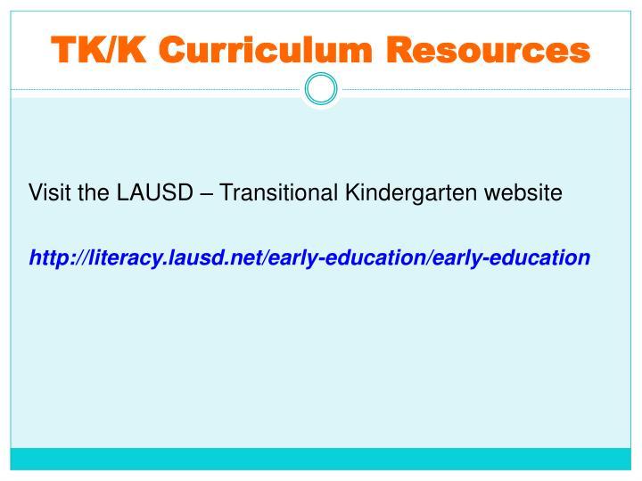 TK/K Curriculum Resources