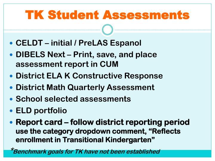 TK Student Assessments