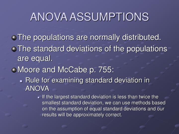 ANOVA ASSUMPTIONS