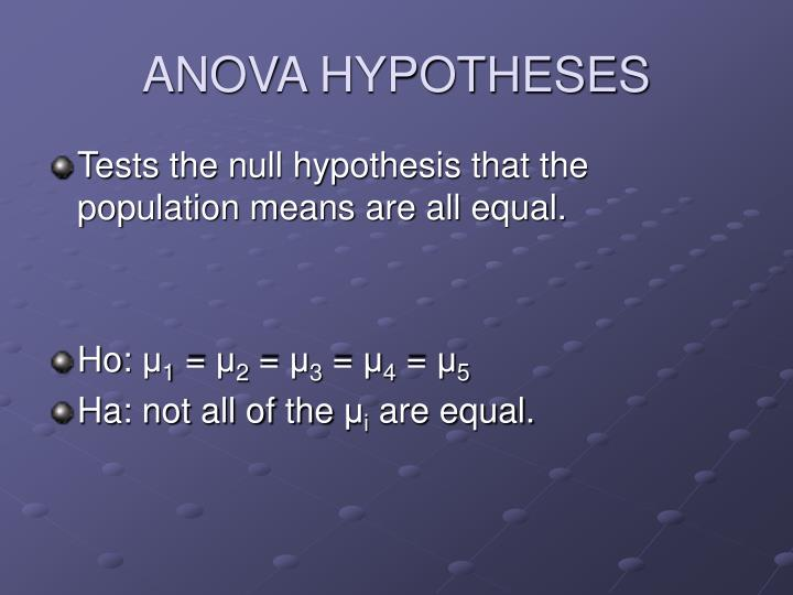ANOVA HYPOTHESES
