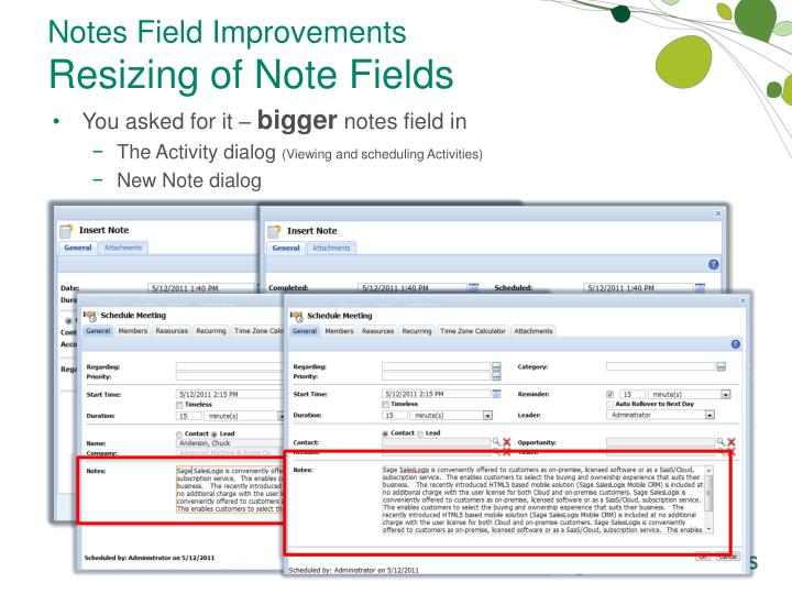 Notes Field Improvements