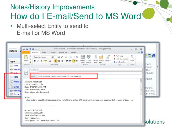 Notes/History Improvements
