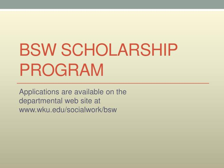 BSW Scholarship Program