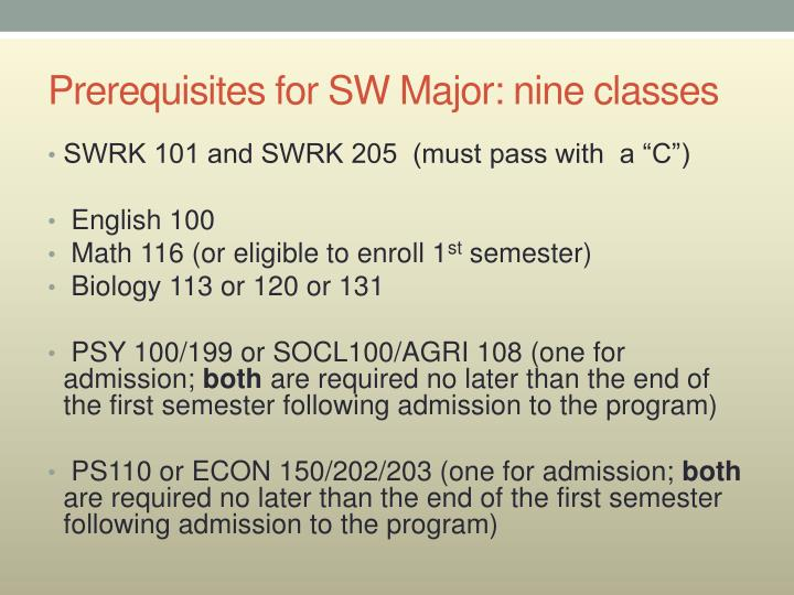 Prerequisites for SW Major: nine classes